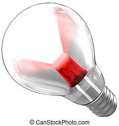 leuchtdiode, licht, innenseite, balken, zwiebel, ausstrahlen