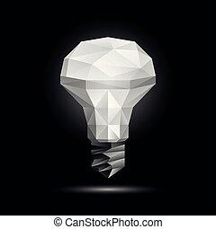 leuchtdiode, licht, poly, polygonal, glühen, vektor, schwarz, abbildung, hintergrund, model., zwiebel, 3d, niedrig