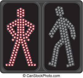 leuchtdiode, signal, fußgängerübergang