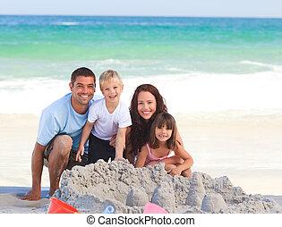 leuchtend, familie, strand