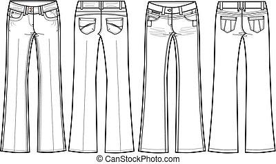 leuchtsignal, damen, jeans