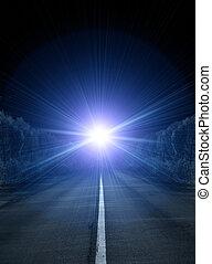 leuchtsignal, in, nacht