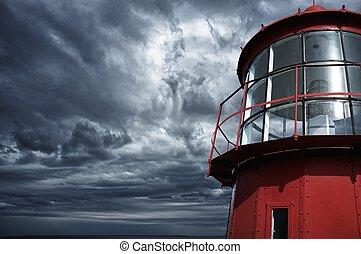 leuchturm, gegen, stürmisch, sky.