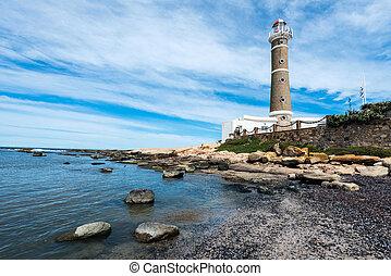 leuchturm, in, jose, ignacio, bei, punta del este, uruguay
