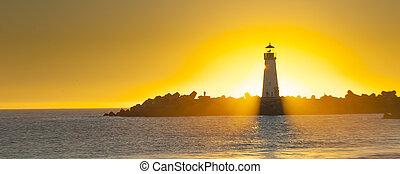 leuchturm, mit, lichtkegel, an, sonnenuntergang