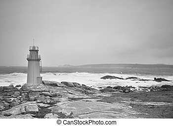 leuchturm, stürmisch, aus, himmelsgewölbe,  muxia, Schwarz, weißes, Spanien