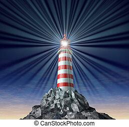 leuchturm, strahlend, symbol, lösungen