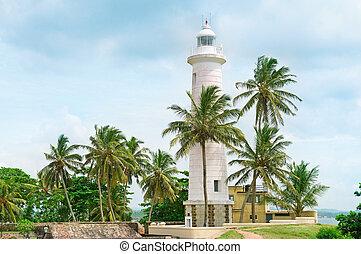 leuchturm, und, palmen, in, der, stadt, von, galle, sri lanka