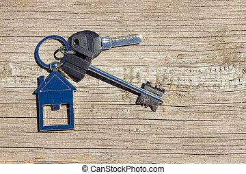 leugen, concept, sleutels, woning, houten, achtergrond, eigendom, aankoop
