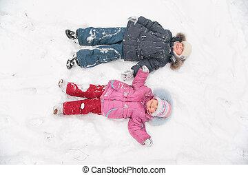leugen, kinderen, twee, sneeuw