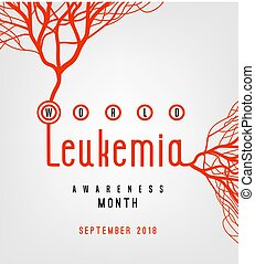 World leukemia awareness month poster. Creative lettering with blood vessels isolated on white background in flat style. Acute lymphoblastic leukaemia image. Vector illustration.