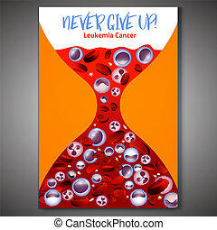 Leukemia vertical background in bright colors. White and red blood cells in realistic style. Leukaemia disease awareness. Editable vector illustration. Medical, scientific and healthcare concept.