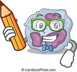 leukocyt, bild, tecken, student, cell, holdingen, ...