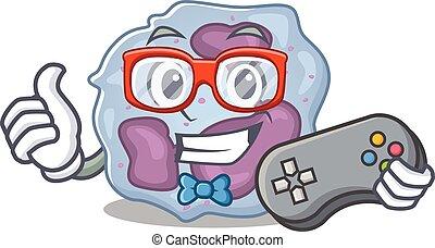 leukocyt, maskot, smiley, stil, cell, tecknad film, gamer