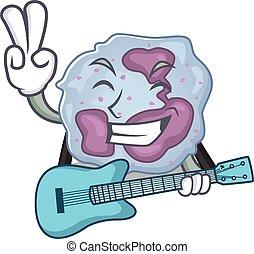 leukocyt, maskot, utförande, gitarr, cell