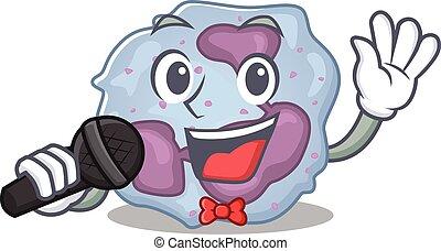 leukocyt, sjungande, mikrofon, cell, lycklig