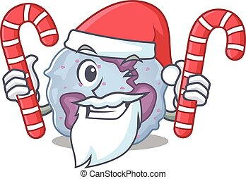 Leukocyte cell Cartoon character in Santa costume with candy...