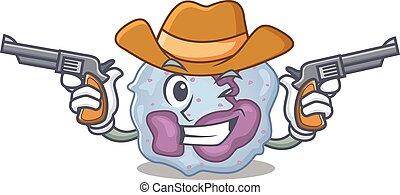 leukozyte, gewehre, cowboy, angezogene , zelle, haben
