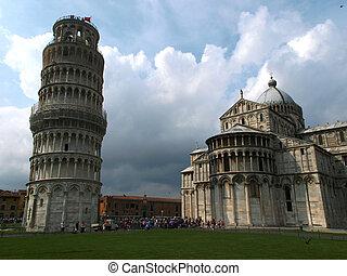 leunende toren van pisa, en, kathedraal, -, een, van, een,...