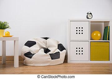 leunstoel, zak, slaapkamer
