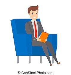 leunstoel, zakenman, working., zittende