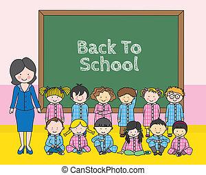 leur, école, enseigner, enfants