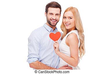 leur, autre, beau, tenue, isolé, forme, célébrer, coeur, papier, jeune, liaison, love., debout, chaque, quoique, couple, fond, aimer, blanc