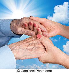leur, caregiver., femme, homme, personne agee