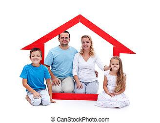 leur, concept, jeune famille, maison