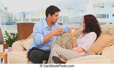 leur, couple, boire, livin, vin