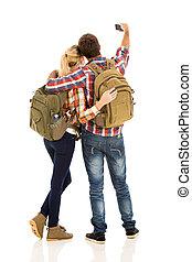 leur, couple, téléphone, prendre, selfie, intelligent
