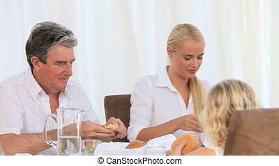 leur, dîner, avoir, famille