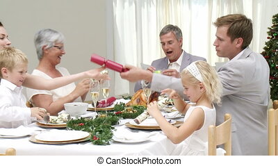 leur, dîner, noël, famille