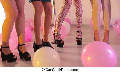 leur, danse, filles, groupe, pieds, danse