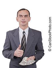 leur, dollars, jeune, hands., homme affaires