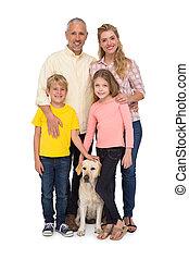 leur, famille heureuse, chouchou, chien