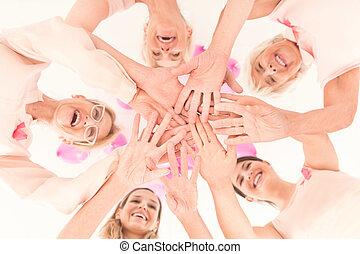 leur, femmes, joindre, mains