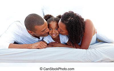 leur, fille, baisers, gai, parents