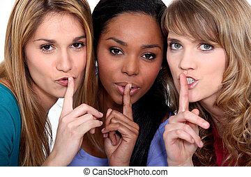 leur, lèvres, femmes, doigts, trois