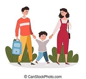 leur, marche, fils, parents, école, jeune
