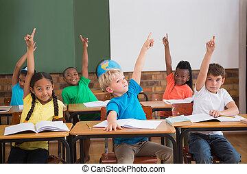 leur, mignon, élèves, élévation, mains