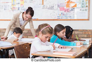 leur, mignon, dessin, élèves, bureaux