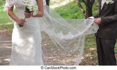 leur, palefrenier, wedding., mariée