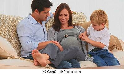 leur, parents, jouer, fils
