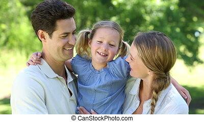 leur, peu, parents, girl, heureux