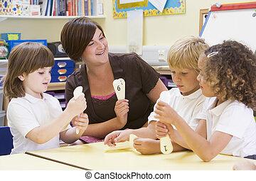 leur, prof, nombres, apprentissage, écoliers