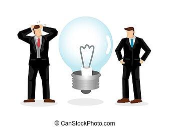 leur, project., avoir, illustration., grand, unlighted, idée, bulb., non, vecteur, concept, lumière, hommes affaires