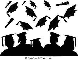 leur, recevoir diplôme, ils, lancement, acclamation, classe, chapeaux