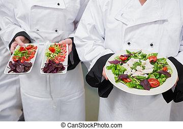 leur, salades, chef, avoir hors