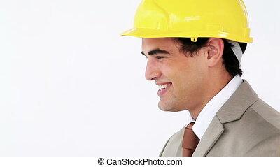 leur, sourire, ingénieurs, serrer main